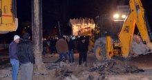Kütahya'da iş makinesi doğalgaz borusunu patlattı