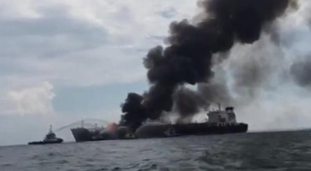 Meksika Körfezi'nde dev tanker yangını